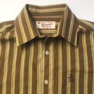 PENGUIN Mens Small Striped Oxford Dress Shirt